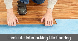 Laminate interlocking tile flooring